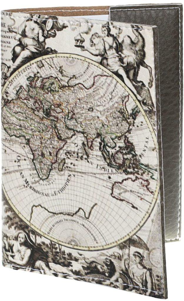 housse passeport en cuir ancienne carte du monde